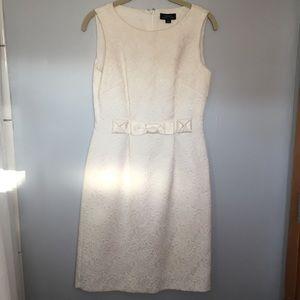 Tahari cream embossed-like dress